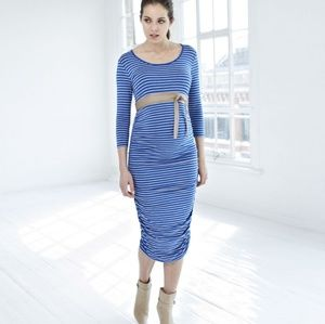 5e6978b03c3a6 ISABELLA OLIVER Blue Dawson Stripe Maternity Dress